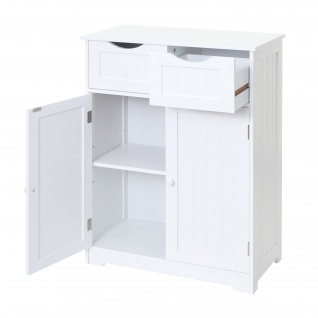 Kommode HWC-B65, Schubladenschrank Schrank, 2 Schubladen und 2 Türen 82x60x30cm weiß