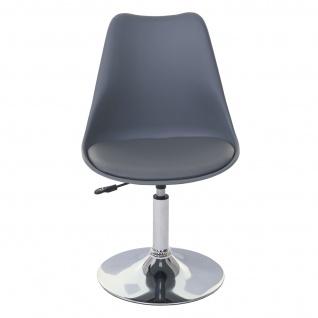 Drehstuhl Malmö T501, Stuhl Küchenstuhl, höhenverstellbar, Kunstleder ~ dunkelgrau, Chromfuß - Vorschau 3