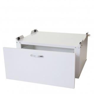 Waschmaschinenunterschrank HWC-E50, Sockel Podest Erhöhung Untergestell, Schublade 33x61x62cm weiß
