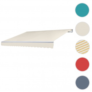 Alu-Markise T792, Gelenkarmmarkise Sonnenschutz 5x3m ~ Polyester Creme