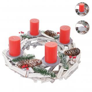 Adventskranz rund, Weihnachtsdeko Tischkranz, Holz Ø 40cm weiß-grau ~ mit Kerzen, rot