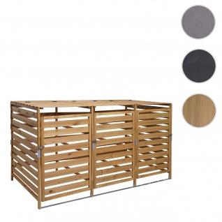 XL 3er-/6er-Mülltonnenverkleidung HWC-H62, Mülltonnenbox, erweiterbar 110x65x93cm Massiv-Holz ~ braun