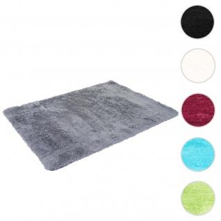 Teppich HWC-F69, Shaggy Läufer Hochflor Langflor, Stoff/Textil flauschig weich 160x120cm ~ grau