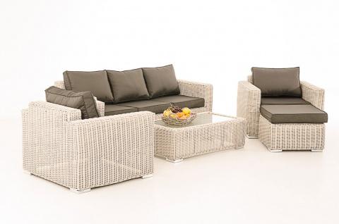 3-1-1 Gartengarnitur CP053 Sitzgruppe Lounge-Garnitur Poly-Rattan ~ Kissen anthrazit, perlweiß