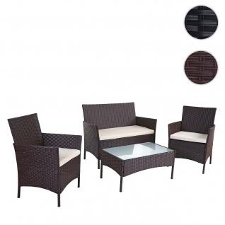 2-1-1 Poly-Rattan Garten-Garnitur HWC-B21, Sitzgruppe braun, Kissen creme