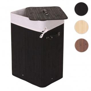 Wäschekorb HWC-C21, Laundry Wäschebox Wäschesammler Wäschebehälter Wäschetonne, Bambus 61x43x32cm 70l ~ schwarz