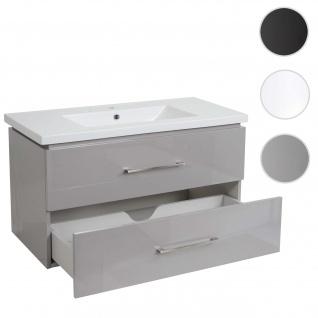 Premium Waschbecken + Unterschrank HWC-D16, Waschbecken Waschtisch, hochglanz 90cm grau