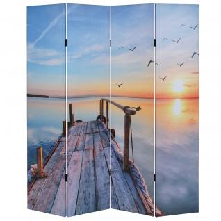 Foto-Paravent T234, Paravent Raumteiler 180x160cm ~ Sonnenuntergang