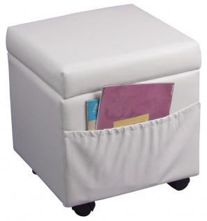Sitzhocker H109, Sitzwürfel Hocker, mit Deckel, auf Rollen, Kunstleder weiß