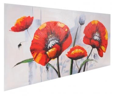 Ölgemälde Roter Mohn, 100% handgemaltes Wandbild XL, 140x70cm - Vorschau 4
