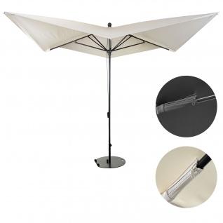 Luxus-Sonnenschirm HWC-A37, Marktschirm Gartenschirm, 3x3m (Ø4, 24m) Polyester/Alu 10kg ~ creme mit Ständer