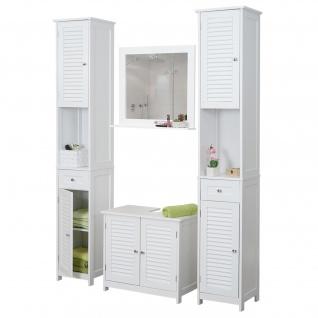 Badezimmerset HWC-F75, Badmöbel-Set 2x Hochschrank Waschbeckenunterschrank Wandspiegel, Landhaus weiß