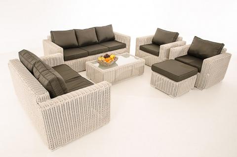 3-2-1-1 Sofa-Garnitur CP050 Lounge-Set Gartengarnitur Poly-Rattan ~ Kissen anthrazit, perlweiß