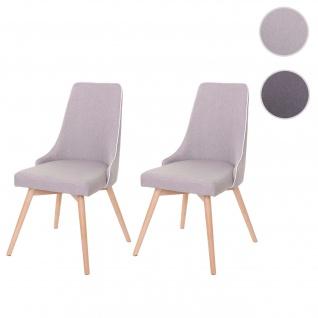 2x Esszimmerstuhl HWC-B44, Stuhl Küchenstuhl, Retro 50er Jahre Design Stoff/Textil grau