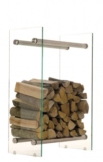 Kaminholzständer CP317, Feuerholzregal, Klarglas ~ 35x40x60cm