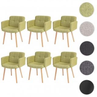 6x Esszimmerstuhl Orlando II, Stuhl Küchenstuhl, Retro-Design ~ Textil, hellgrün