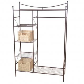 Metall-Garderobe H147, Garderobenständer Kleiderschrank Metallregal, 169x111x40cm braun