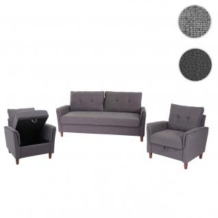3-1-1 Couchgarnitur HWC-H23, 3er Sofa Sofagarnitur Loungesessel Relaxsessel, Gastronomie Staufach ~ Stoff/Textil, grau