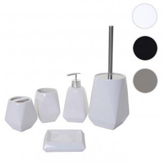 5-teiliges Badset HWC-C71, WC-Garnitur Badezimmerset Badaccessoires, Keramik ~ weiß - Vorschau 1