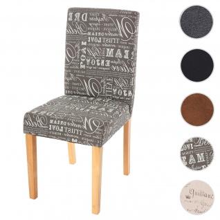 Esszimmerstuhl Littau, Küchenstuhl Stuhl, Stoff/Textil ~ Schriftzug grau, helle Beine