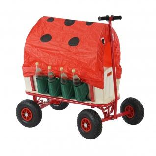 Bollerwagen, inkl. Sitz, Bremse, Flaschenhalter, Dach Käfer rot