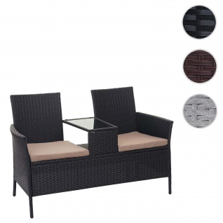 Poly-Rattan Sitzbank mit Tisch HWC-E24, Gartenbank Sitzgruppe Gartensofa, 132cm ~ schwarz, Kissen creme