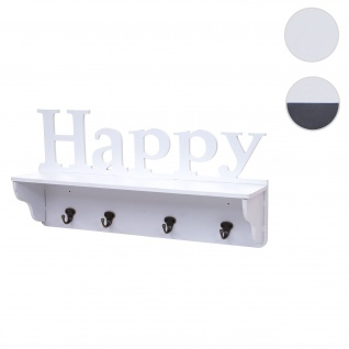 Wandgarderobe HWC-D41 Happy, Garderobe Regal, 4 Haken massiv 30x60x13cm ~ weiß