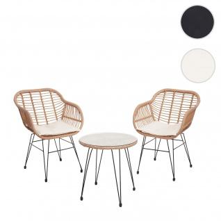 Poly-Rattan Garnitur HWC-G17, Balkon-Set Gartengarnitur Sitzgarnitur Sitzgruppe Stuhl ~ naturfarben, Kissen creme