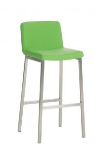 Barhocker CP183, Barstuhl Gestell silber, Kunstleder, grün