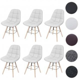 6x Esszimmerstuhl HWC-A60 II, Stuhl Küchenstuhl, Retro 50er Jahre Design ~ Kunstleder weiß