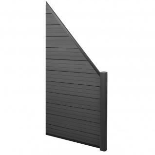 WPC-Sichtschutz Sarthe, Windschutz Zaun, Alu-Pfosten ~ Erweiterungselement schräg rechts, 0, 95m anthrazit