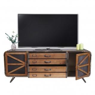 TV-Rack HWC-F91, Fernsehtisch Lowboard Kommode, Industrial Tanne Holz Metall 55x139x41cm, braun-schwarz