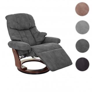 MCA Relaxsessel Calgary 2, Fernsehsessel Sessel, Stoff/Textil 150kg belastbar ~ dunkelgrau, Walnuss-Optik