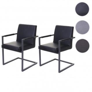 2x Esszimmerstuhl HWC-D34, Freischwinger Küchenstuhl Stuhl