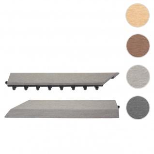2x Abschlussleiste für WPC Bodenfliese Rhone, Abschlussprofil, Holzoptik Balkon/Terrasse ~ grau links mit Haken