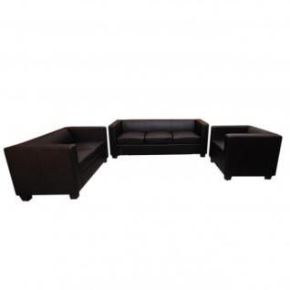 3-2-1 Sofagarnitur Couchgarnitur Loungesofa Lille Kunstleder, schwarz