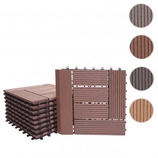 WPC Bodenfliese Rhone + Abschluss, Holzoptik Balkon/Terrasse, 11x je 30x30cm = 1qm Premium ~ coffee versetzt