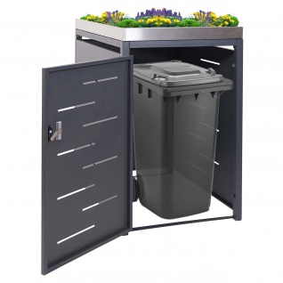 1er-Mülltonnenverkleidung HWC-H40, Mülltonnenbox, Pflanzkasten Edelstahl-Metall-Kombi 117x67x80cm erweiterbar
