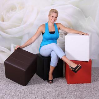 Sitzhocker Paris Sitzwürfel Hocker, Kunstleder, 40x38x38 cm braun - Vorschau 4