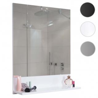 Wandspiegel mit Ablage HWC-B19, Badspiegel Badezimmer, hochglanz 75x60cm weiß