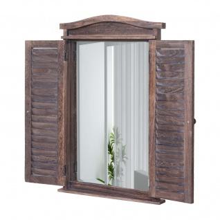 Wandspiegel Badspiegel Badezimmer Spiegelfenster mit Fensterläden, 71x46x5cm ~ shabby braun - Vorschau 2