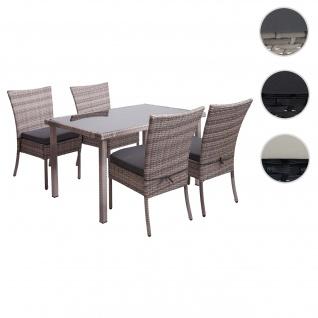 Poly-Rattan Garnitur HWC-G19, Sitzgruppe Balkon-/Lounge-Set, 4xStuhl+Tisch, 120x75cm ~ grau, Kissen dunkelgrau