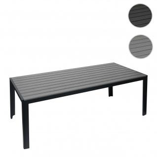 Gartentisch HWC-G12, Balkontisch Tisch, WPC Holzoptik Stahl 200x90cm ~ schwarz, Tischplatte grau