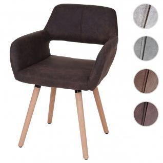 Esszimmerstuhl HWC-A50 II, Stuhl Küchenstuhl, Retro 50er Jahre Design ~ Textil, vintage dunkelbraun, helle Beine