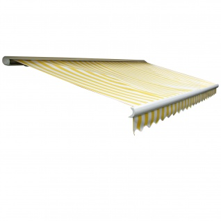 Elektrische Kassetten-Markise T122, Vollkassette Volant 4x3m ~ Acryl Gelb/Weiß