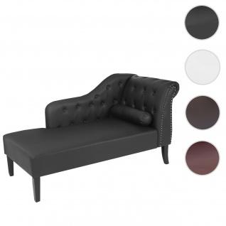 Luxus Recamiere Chesterfield, Relaxliege Loungesofa Chaiselongue, Kunstleder ~ schwarz