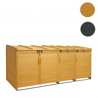 XL 4er-/8er-Mülltonnenverkleidung HWC-H75, Mülltonnenbox, erweiterbar 116x66x92cm Holz FSC-zertifiziert ~ braun
