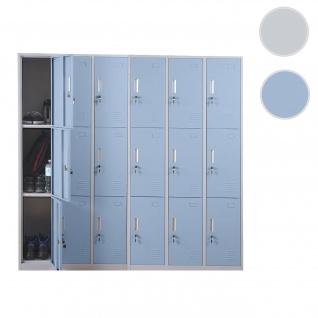 Schließfach Boston T829, Schließfachschrank Wertfachschrank Spind, Metall 18 Fächer ~ blau