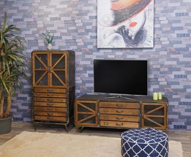 Wohnzimmer-Set HWC-F91, TV-Rack Kommode Highboard Hochschrank, Industrial Tanne Holz Metall, braun-schwarz