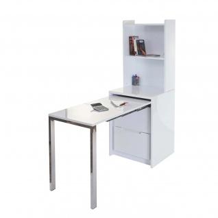 Regal mit ausziehbarem Schreibtisch HWC-D77, Computertisch Bürotisch, hochglanz weiß 156x155x55cm